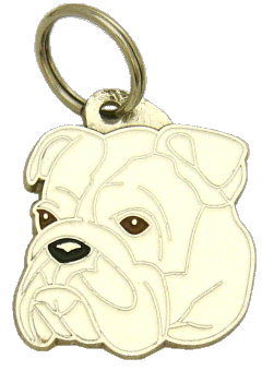 BULLDOG WHITE - pet ID tag, dog ID tags, pet tags, personalized pet tags MjavHov - engraved pet tags online